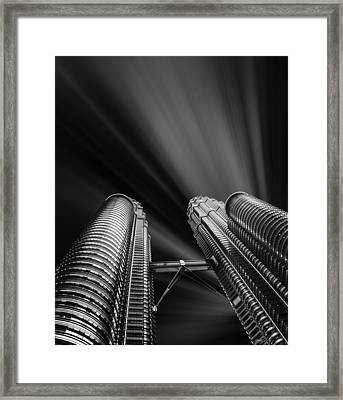 Modern Skyscraper Black And White Picture Framed Print