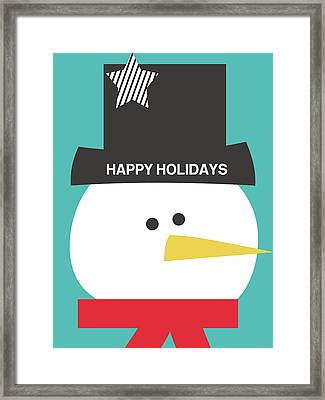 Modern Snowman Happy Holidays- Art By Linda Woods Framed Print