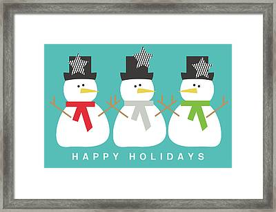 Modern Snowmen Happy Holidays- Art By Linda Woods Framed Print