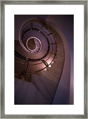 Modern Staircase In Violet And Golden Tones Framed Print