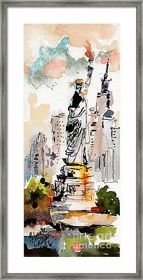 Framed Print featuring the painting Modern Statue Of Liberty New York Watercolor by Ginette Callaway