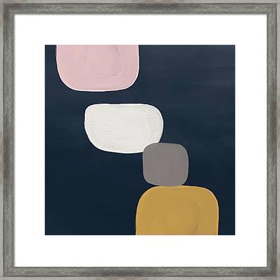 Modern Stones Navy 1- Art By Linda Woods Framed Print