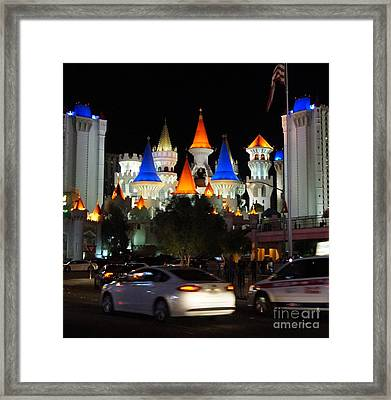 Modern Tale From Las Vegas, Excalibur Framed Print by Timea Mazug