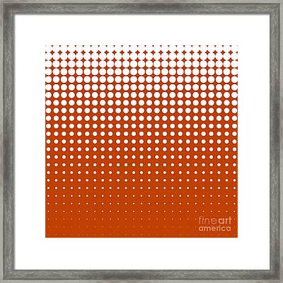 Modern Techno Shrinking Polka Dots White On Mahogany Framed Print