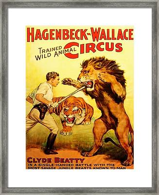 Framed Print featuring the digital art Modern Vintage Circus Poster by ReInVintaged