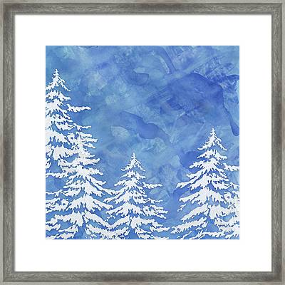 Modern Watercolor Winter Abstract - Snowy Trees Framed Print by Audrey Jeanne Roberts