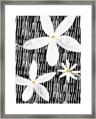 Framed Print featuring the mixed media Modern White Flowers- Art By Linda Woods by Linda Woods