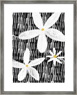 Modern White Flowers- Art By Linda Woods Framed Print