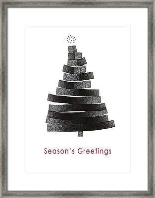 Modern Winter Tree- Season's Greetings Art By Linda Woods Framed Print by Linda Woods