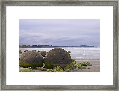 Moeraki Boulders Framed Print by Andrea Cadwallader
