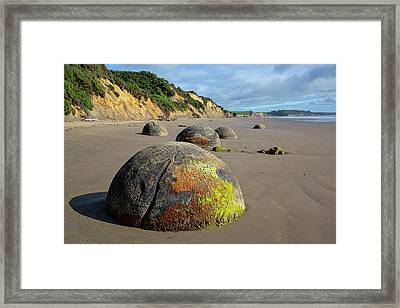Framed Print featuring the photograph Moeraki Boulders by Cheryl Strahl