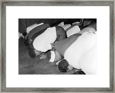 Mohammad Ali At Mosque Framed Print by Underwood Archives