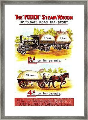The Foden Steam Wagon Sandbach England Circa 1910 Framed Print by Peter Gumaer Ogden