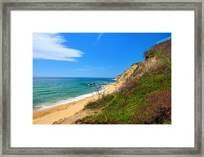 Mohegan Bluffs Block Island Framed Print by Lourry Legarde
