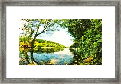 Framed Print featuring the photograph Mohegan Lake By The Bridge by Derek Gedney