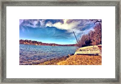 Framed Print featuring the painting Mohegan Lake Lonely Boat by Derek Gedney
