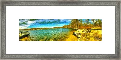 Framed Print featuring the painting Mohegan Lake Panoramic Beach by Derek Gedney