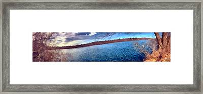 Framed Print featuring the painting Mohegan Lake Panoramic Lake by Derek Gedney