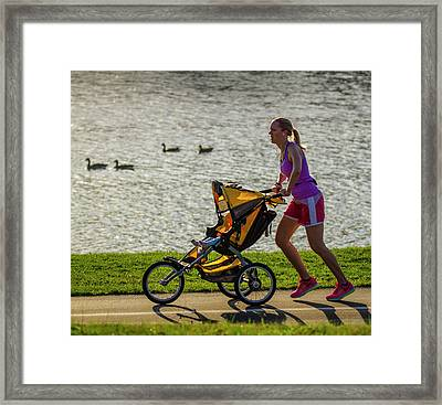 Moher And Child Jogging Framed Print by Garry McMichael