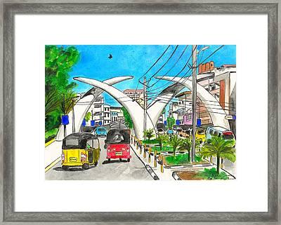 Moi Ave, Mombasa Tusks  Framed Print