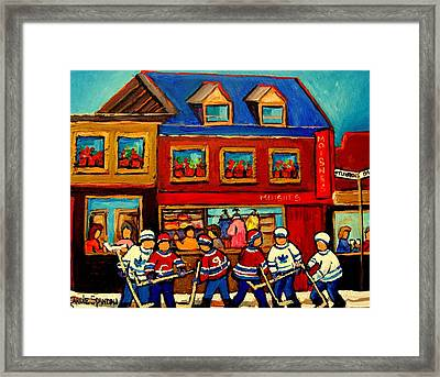 Moishes Steakhouse Hockey Practice Framed Print by Carole Spandau