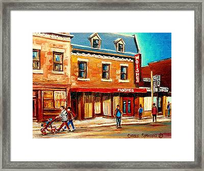 Moishes The Place For Steaks Framed Print by Carole Spandau