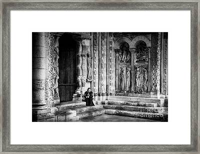 Moissac Abbey Entrance Bw Framed Print