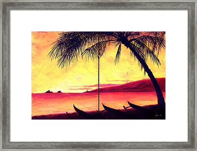 Mokulua Sundown Framed Print by Angela Treat Lyon