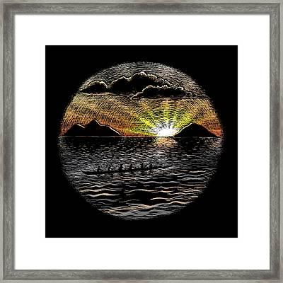Mokulua Sunrise Paddle Framed Print by Kirsten Carlson