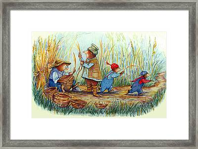 Moles Making Baskets Framed Print by Peggy Wilson
