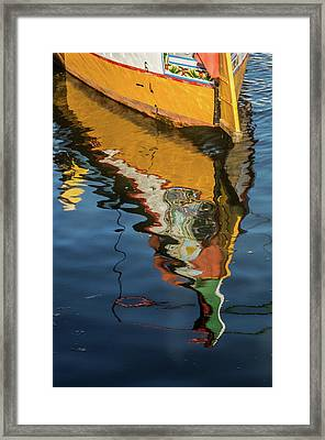 Moliceiro Reflection Framed Print by Carlos Caetano