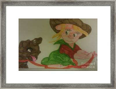 Molly And Her Dog Sallie Framed Print