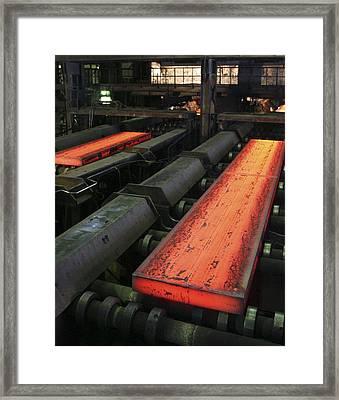 Molten Metal Bars Framed Print by Ria Novosti