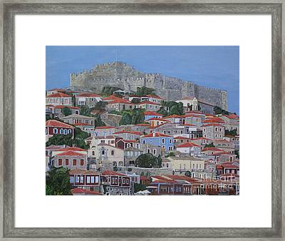 Framed Print featuring the painting Molyvos II by Eric Kempson