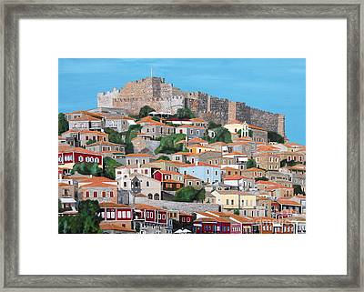 Framed Print featuring the painting Molyvos Lesvos Greece by Eric Kempson