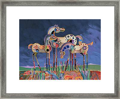 Framed Print featuring the painting Mom And Foals by Bob Coonts