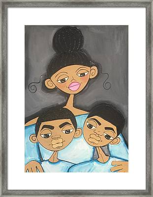 Mom And Her Boys Framed Print by Deborah Carrie