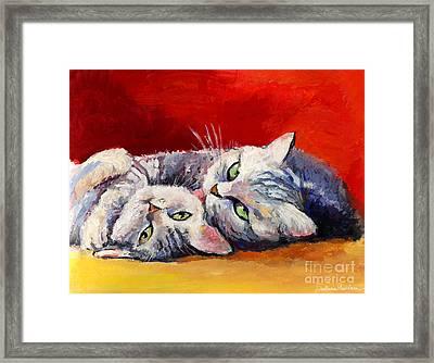 Mom And Kitten Cat Painting Framed Print by Svetlana Novikova