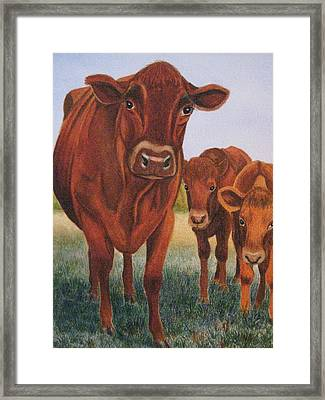 Mom And The Kids Framed Print by Barbara Pascal