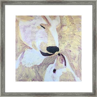Framed Print featuring the painting Momma Bear Checking On Her Cub by Donald J Ryker III