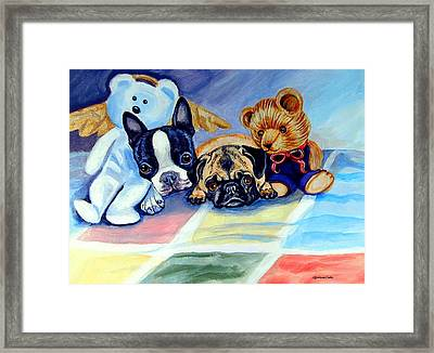 Mom Can She Stay Over - Pug And Boston Terrier Framed Print