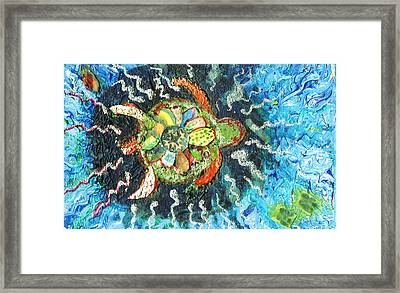 Mom There Is A Turtle In The Swimming Pool II Framed Print by Anne-Elizabeth Whiteway