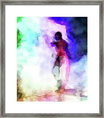 Moment In Blue - African Dancer Framed Print