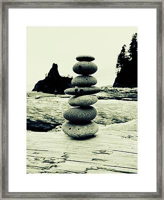 Cairn At La Push Beach Framed Print