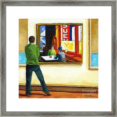 Moments With Hopper - Portrait Oil Painting Framed Print