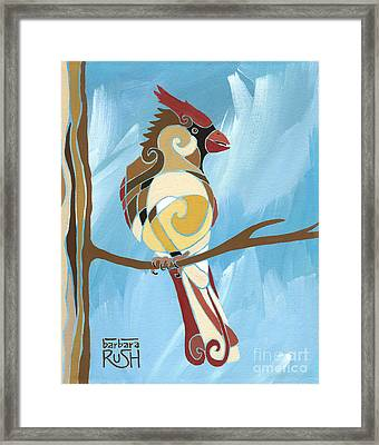 Moms Day Off Female Cardinal Painting Framed Print