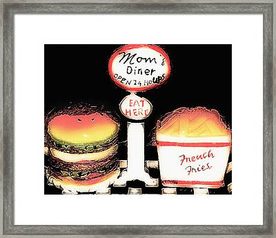 Mom's Diner - Open 24 Hours Framed Print by Steve Ohlsen