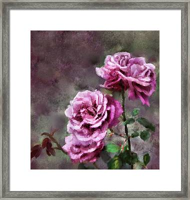 Framed Print featuring the digital art Moms Roses by Susan Kinney