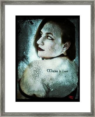 Framed Print featuring the digital art Mona 1 by Mark Baranowski
