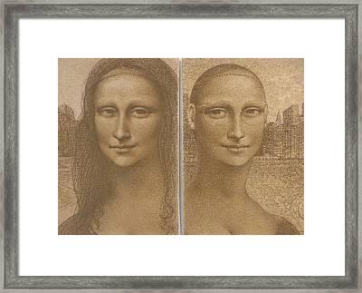 Mona Lisa Past And Present Framed Print by Gary Kaemmer